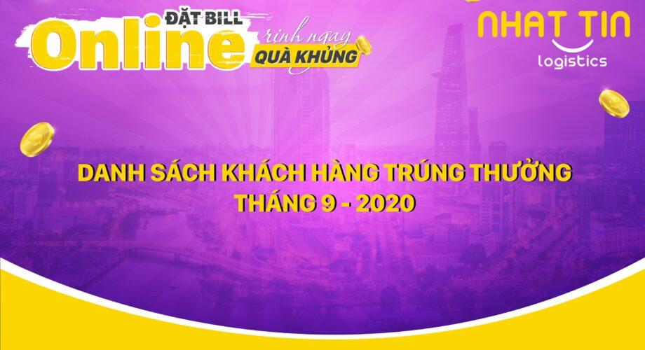 Danh sách khách hàng trúng thưởng ĐẶT BILL ONLINE, RINH NGAY QUÀ KHỦNG Tháng 9-2020